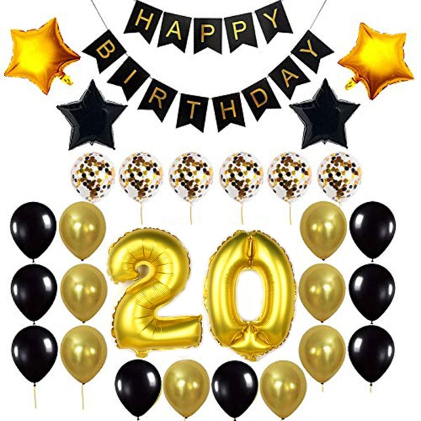 Birthday Party Package: 100 Latex Balloons, 4 star foil Balloons, 6 confetti balloons, gold number 20 foil balloon, 1 happy birthday banner