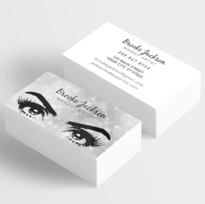 Makeup Artist Business Card Eyes Eyelashes Silver