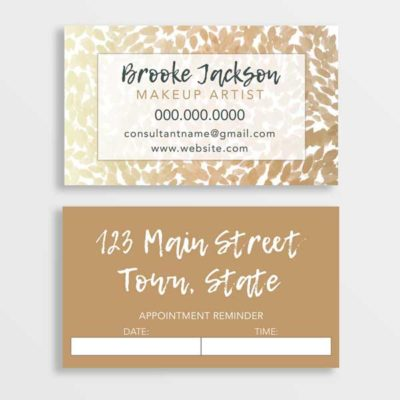 makeup artist business card gold