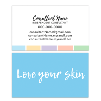 rodan fields business card, rodan fields mini facial glow card, love your skin mini facial instruction card