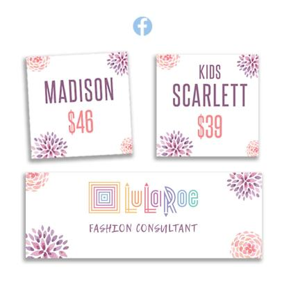 lularoe instant digital download Facebook album covers with watercolor flowers