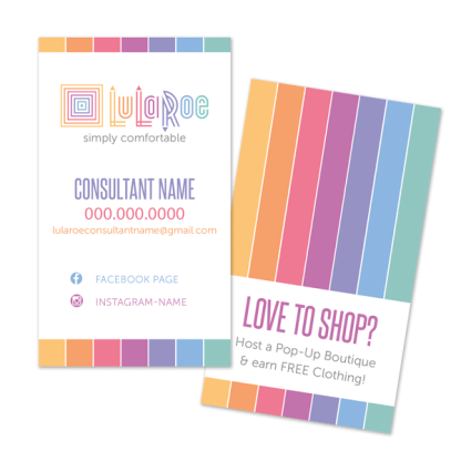 lularoe business card with home office approved fonts and colors.