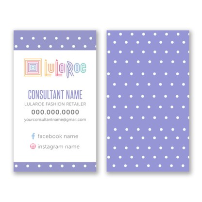 lularoe business card, home office approved, colors and fonts