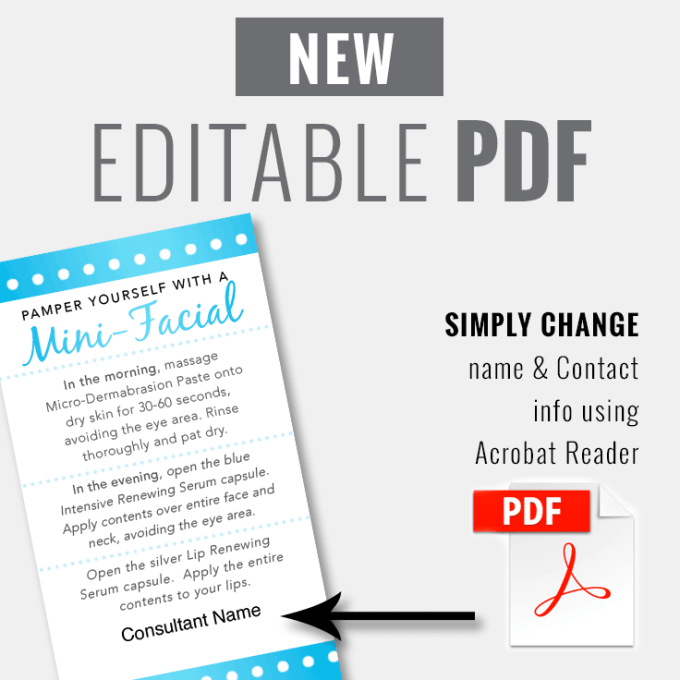 EDITABLE PDF - Mini-Facial Card - Blue Pearl - INSTANT DOWNLOAD