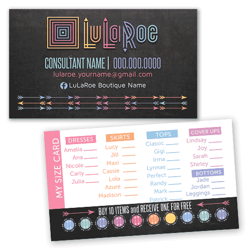 lularoe business my size card with arrows