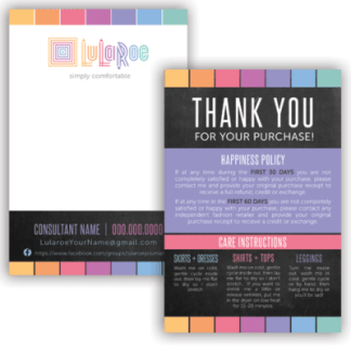 lularoe thank you card, lularoe business card, lularoe care instrucitons