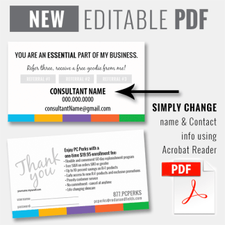 editable pdf rodan and fields pc perks referral card