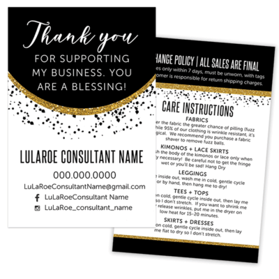 lularoe business card, lularoe thank you card, lularoe care card, black and gold