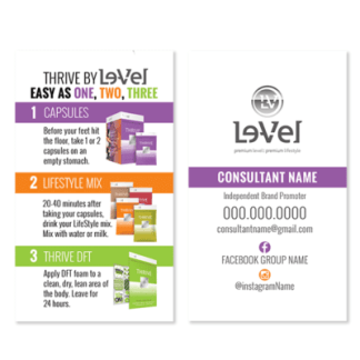 thrive by le-vel experience card, thrive by level experience card