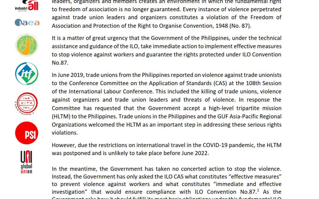 Global Union Federations in the Asia-Pacific Region Call for Immediate Action to Stop Violence Against Trade Unionists in the Philippines and End the Climate of Fear