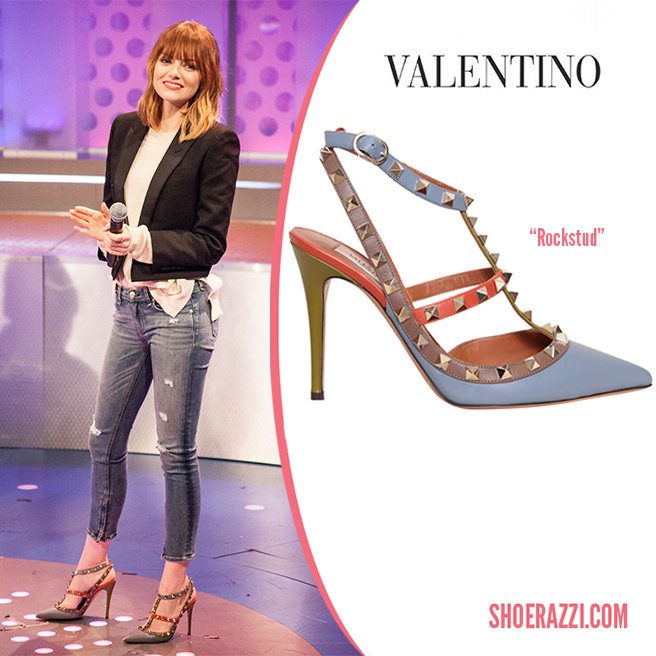 Valentino-colorblock-Rockstud-pump-Fall-2014-shoes-Emma-Stone