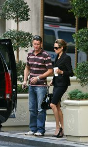 This is Angelina Jolie's hunky Bond-style bodyguard who is sparking rumours about his relationship with his famous client. 'Billy', a musclebound Scotsman who is said to be a former S.A.S. troop, is the new security guard who is rarely seen far from Jolie's side. And now amazingly U.S. magazines claim Jolie may have a crush on her bodyguard - and it is creating tension because boyfriend Brad Pitt is jealous! Ref: SPL8025 071107 Picture by: Splash News Splash News and Pictures Los Angeles: 310-821-2666 New York: 212-619-2666 London: 870-934-2666 photodesk@splashnews.com