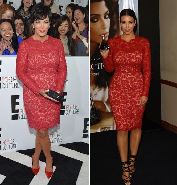 Kris-Jenner-vs.-Kim-Kardashian-in-Valentino%u2019s-Red-Long-Sleeve-Lace-Dress-