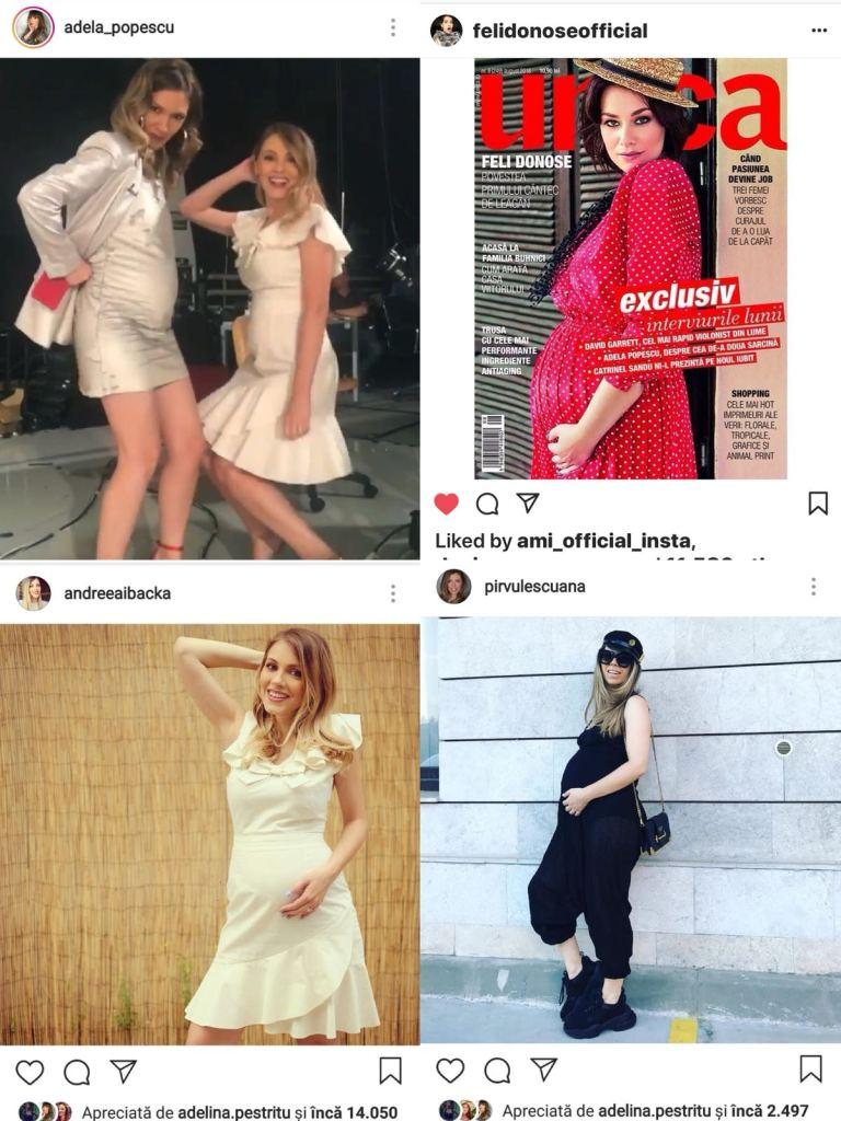 Adela Popescu, Andreea Ibacka, Feli și Ana Pïrvulescu și-au pozat burticile