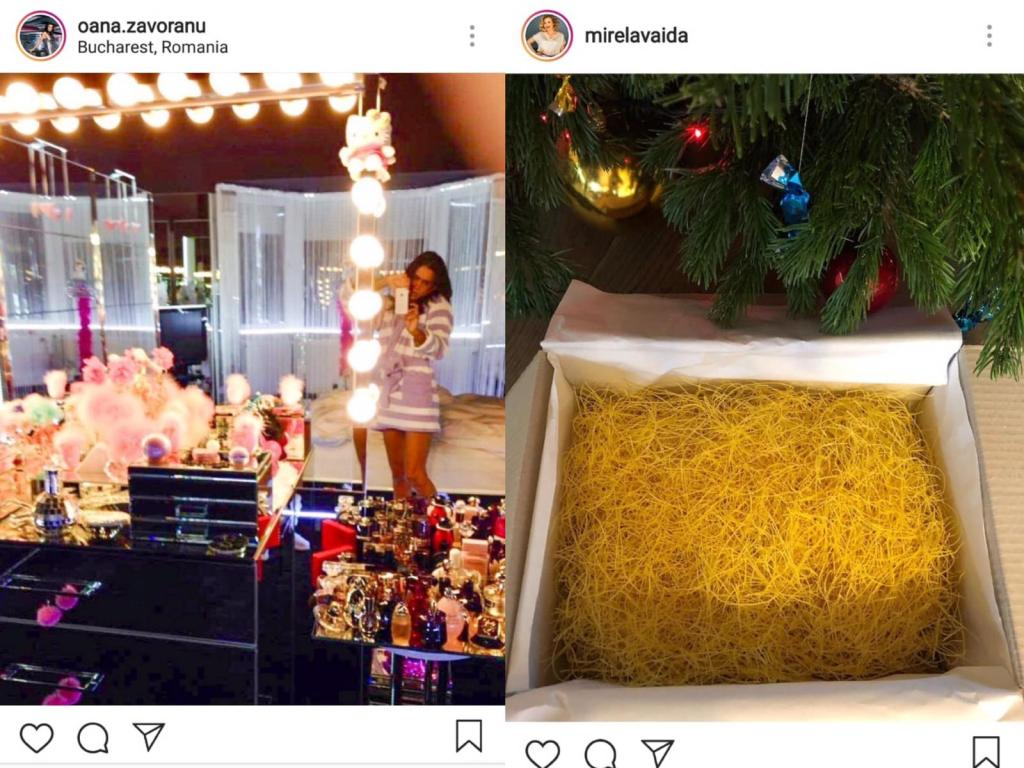 Oana Zăvoranu s-a pozat în oglindă; Mirela Boureanu Vaida a pozat cutia cu tăiței lângă brad