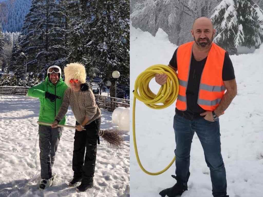 Chef Cătălin Scărlătescu și Daniel Buzdugan s-au pozat pe pârtie