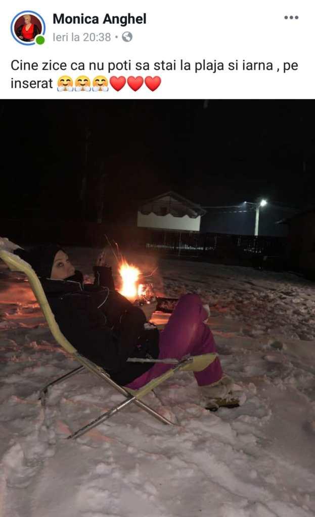 Monica Anghel, pe scaun afară, noaptea, în plină iarnă