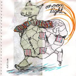 Inspired by the picture of a ful moon in my advents calendar: imaginary creature based on a finding in side-walk cracks