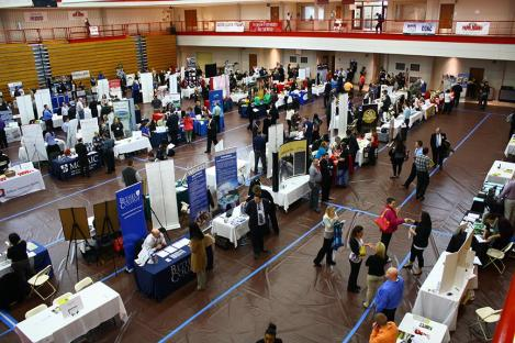 Job seekers explore their options at IUSB's Career and Internship Fair. Preface Photo/JOHN BATLINER