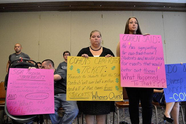 On Friday, Oct. 4, the Criminal Justice Club protested President Lee Cohen's decision to veto their funding request, originally approved by the senate. Preface Photo/SARAH WARD