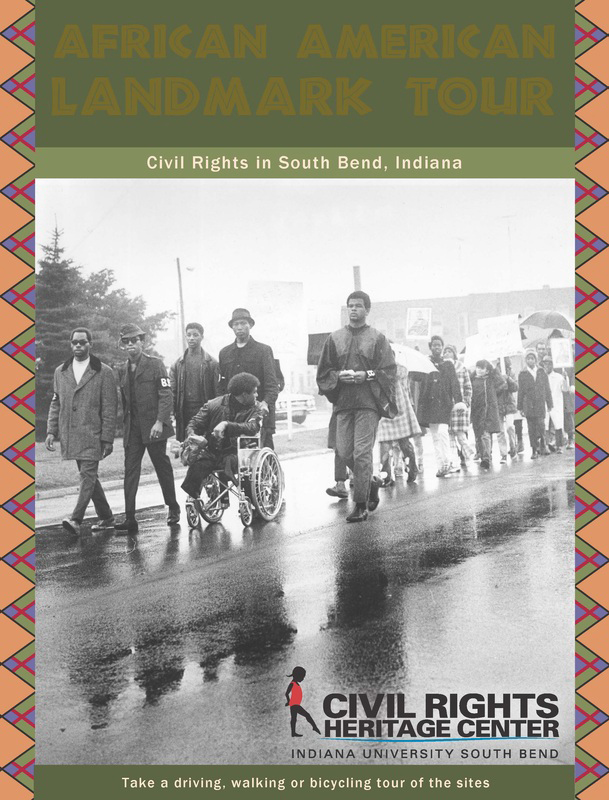 An historical photo of civil rights activists marching in South Bend for equality. Photo via/Civil Rights Heritage Center website