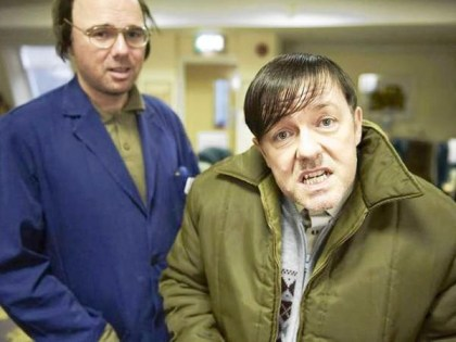 Karl Pilkington (left) stars alongside Ricky Gervais (right) who portrays Derek, a quirky and lovable caretaker at an English nursing home. Photo via/Netflix