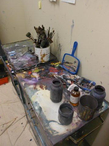 Drawing and painting major Katherine Corpe's workstation in her private BFA studio. (Photo/Melissa Seyboldt)