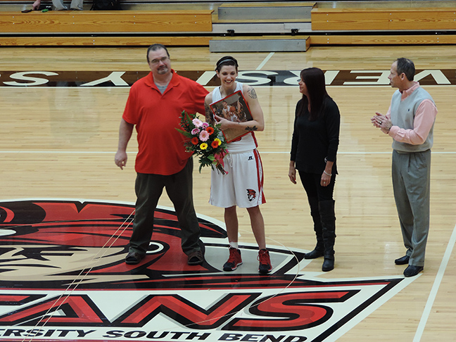 Emily Strilich is honored on Senior Night before Saturday's game by in the SAC. (Preface Photo/NEIL KING)