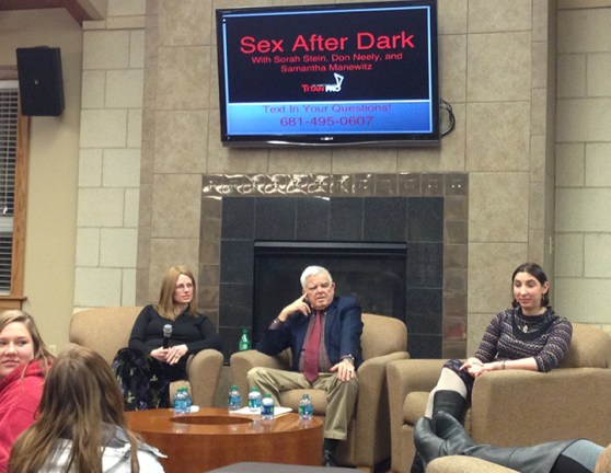 """Sorah Stein, Don Neely and Samantha  Manewitz answered  students' questions about sex submitted via text at Wednesday's """"Sex after Dark"""" event in student  housing.  (Preface photo/ GEOFF LESAR)"""