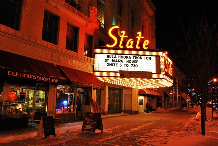 The State Theater advertising its First Friday event: The Hula Hoop-a-Thon. (Preface photo/NICK WORT)