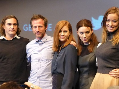 """The cast of """"Her"""" from left to right: Joaquin Phoenix, director Spike Jonze, Amy Adams, Rooney Mara and Olivia Wilde. """"Her"""" was nominated for five Academy Awards including Best Picture.  (Photo/Wikimedia Commons)"""
