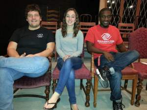Actors, Brad Pontius, Jordyn Nutting, and Javon Barnes pose for a photo before Friday evening's rehearsal. Photo credit/Rachel Nuner