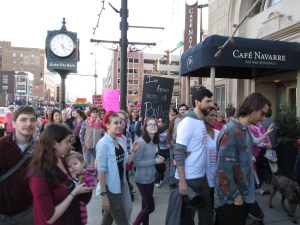 Students and staff join the peaceful walk Downtown South Bend Saturday. Photo/ALLISSA CORAK
