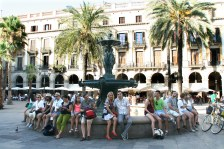 A typical square in Barcelona
