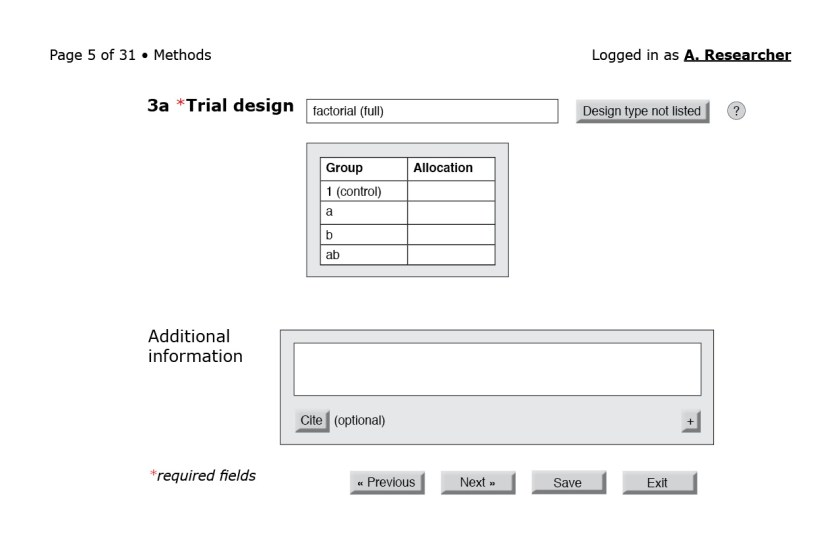 Figure 6: Completing the number of variables and levels generates a table that the user can use to fill in the allocation ratios.