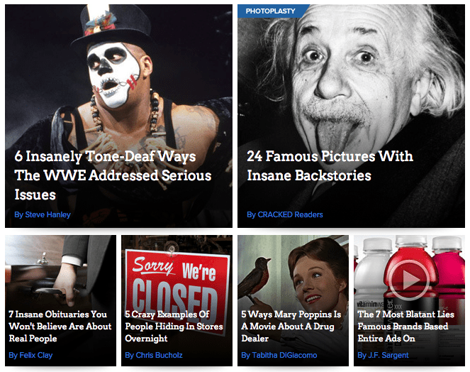 """""""Insane"""" or """"crazy"""" appears in four of the six articles on the front page of Cracked."""