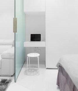 Pequeña zona de trabajo. Diseño interior de mini-apartamento en Madrid