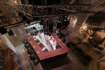 Vista superior barra en «U» Diseño de Restaurante Pracer en A Coruña