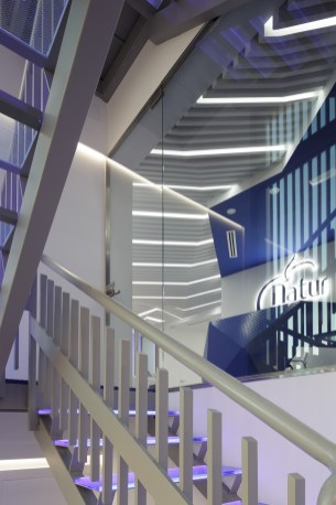 Escalera de acceso - Interiorismo estratégico clínica Naturvitia (Elche)