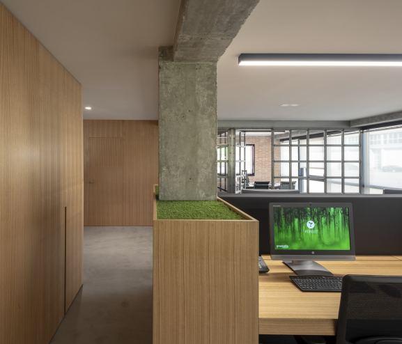 Puestos de trabajo y almacenaje en diseño de oficinas Greenalia, The Green Company