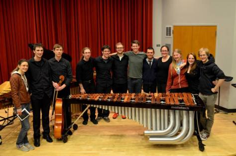 with percussionists at University of Washington