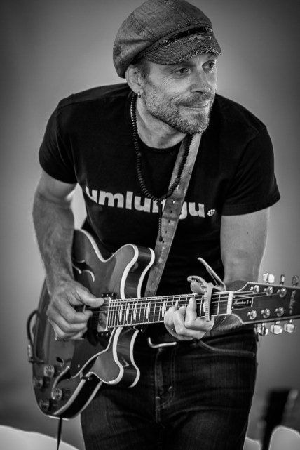 Blues guitarist, Guy Collins, performing during the 2015 Table Mountain Blues Summit at the Hillcrest Quarry.