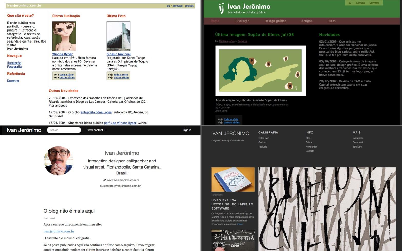 Captura de tela mostrando a página inicial das quatro versões do meu site