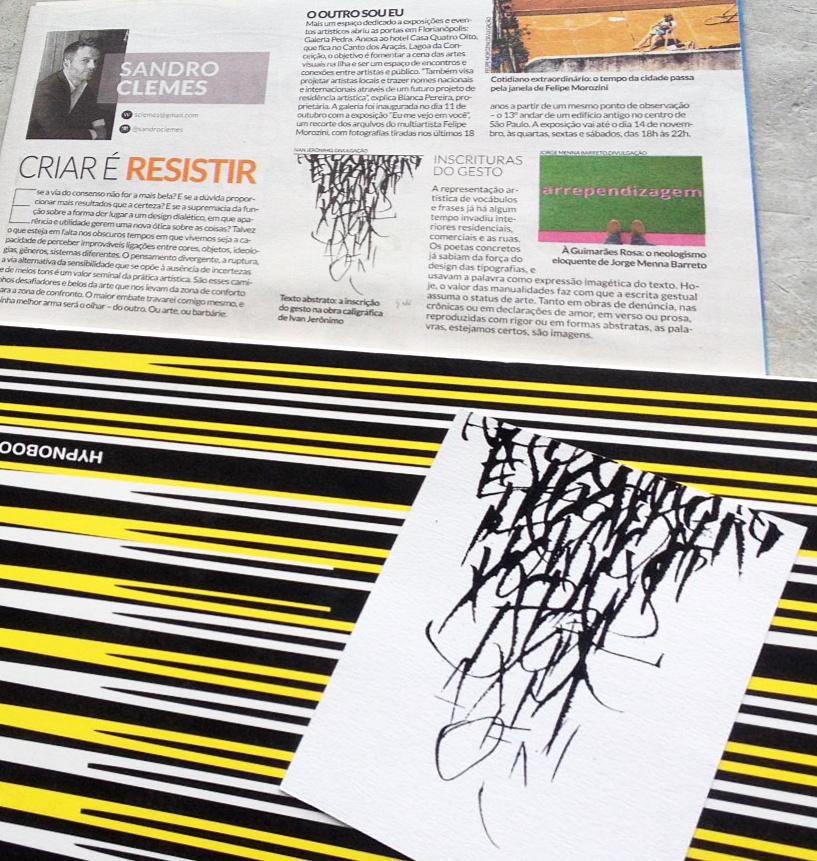 Coluna de Sandro Clemes com trabalho de caligrafia