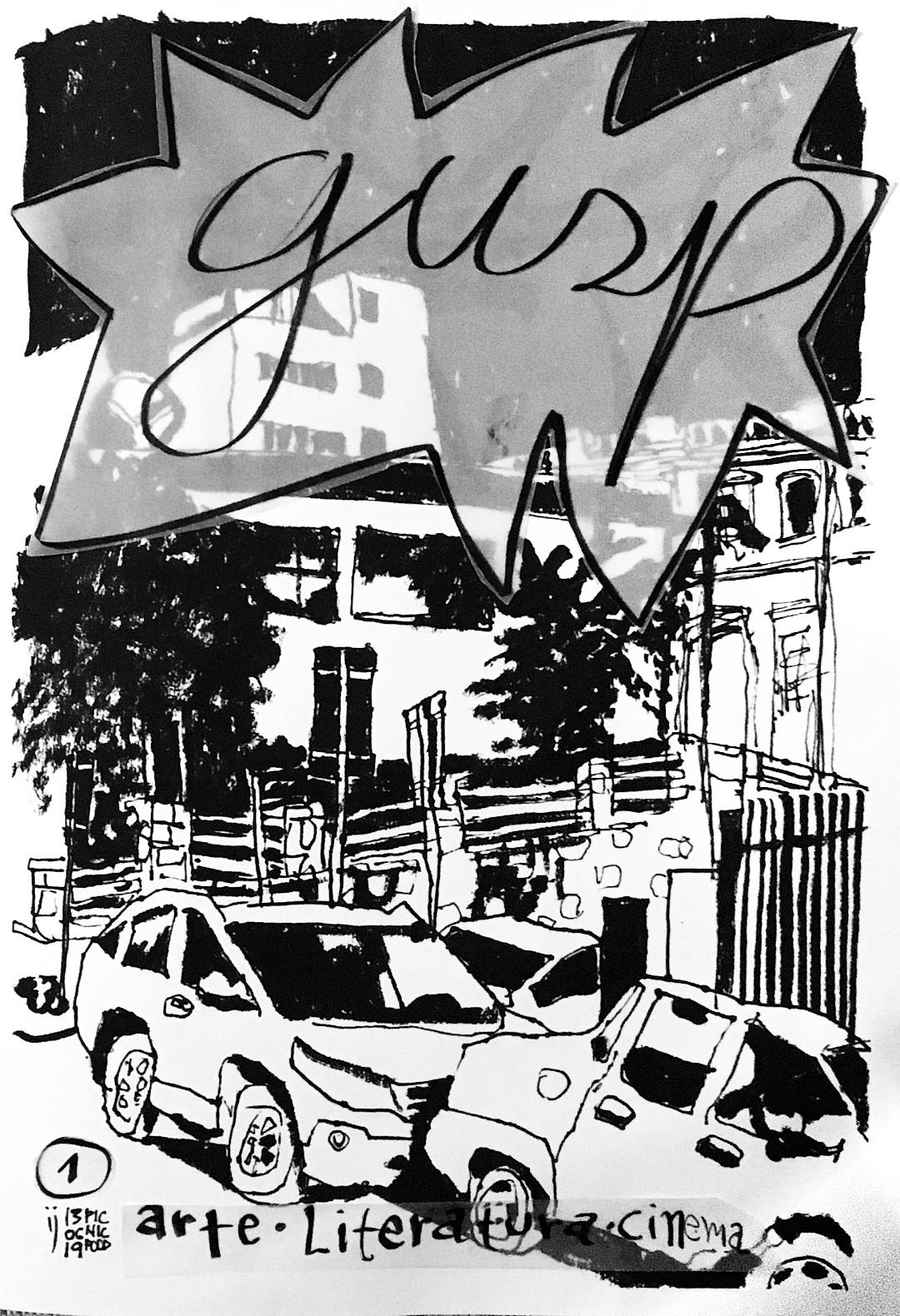 Capa do fanzine Gusp nº 1 mostra desenho a traço da esquina das ruas Victor Meirelles e Nunes Machado