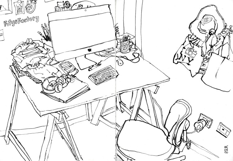 Desenho do home office mostrando mesa com computador e cadeira. Feito a caneta tinteiro preta sobre fundo branco