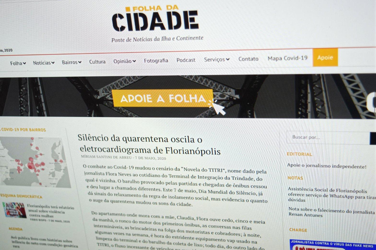 Fotografia da tela do computador com o artigo da Folha da Cidade