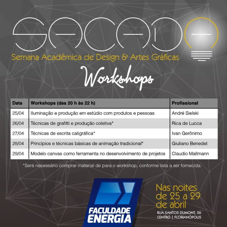 Banner com programação da Sacada - Semana Acadêmica de Design & Artes Gráficas