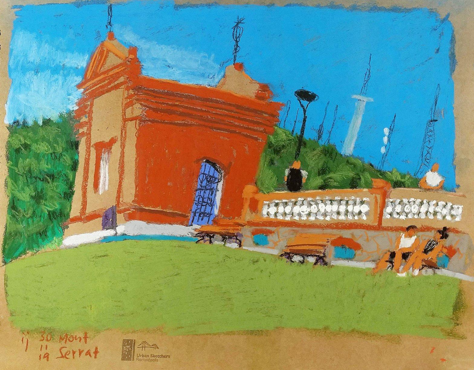 Desenho em pastel seco mostrando a caixa construção da caixa d'água do bairro Mont Serrat