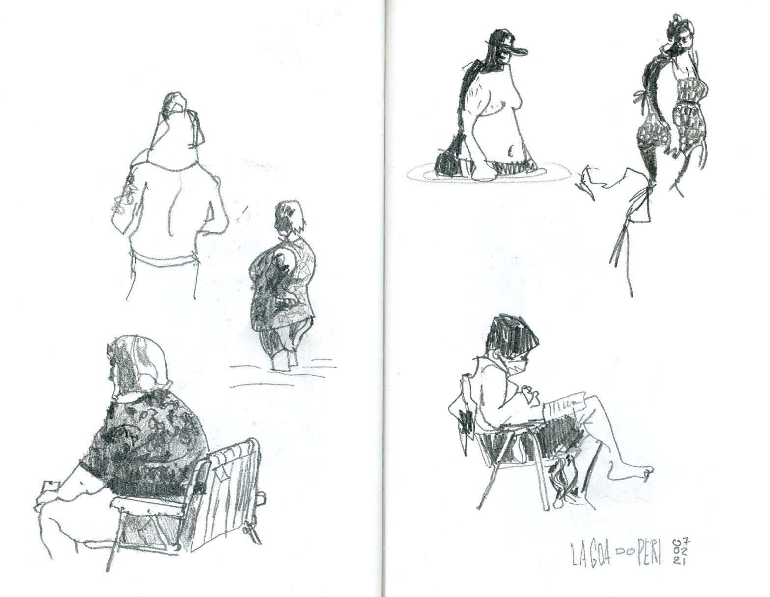 Página dupla de caderno mostrando seis pequenos desenhos de pessoas na praia. Alguns sentados na cadeira, outros em pé dentro d'água